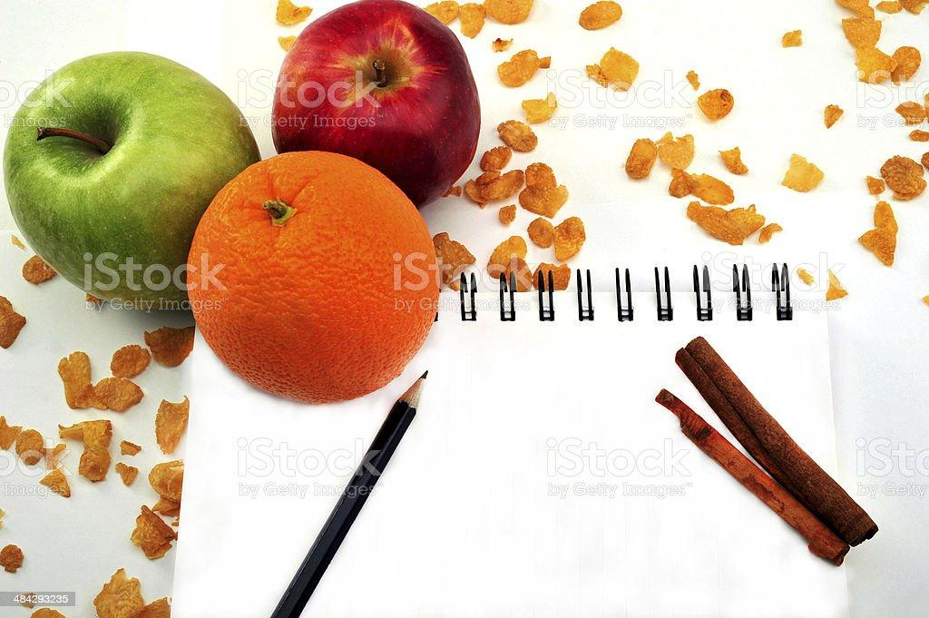 오렌지, 사과나무, 맹검액 레시피 책 royalty-free 스톡 사진