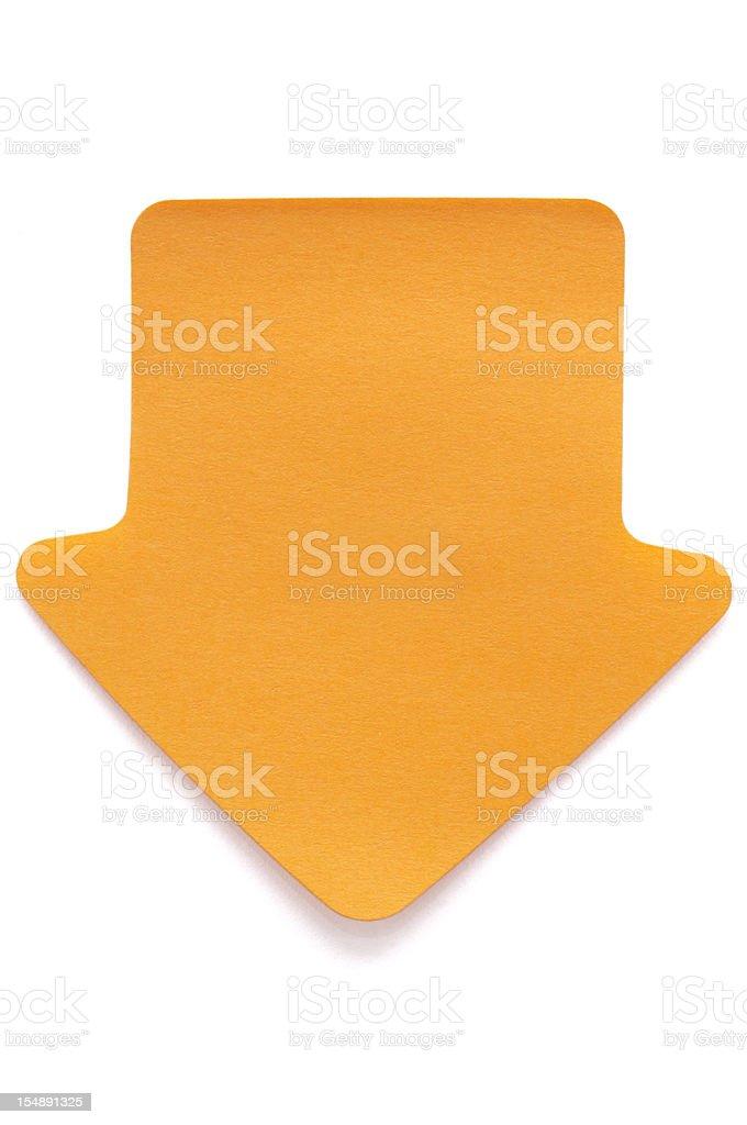 Orange arrow Post-it note on white stock photo