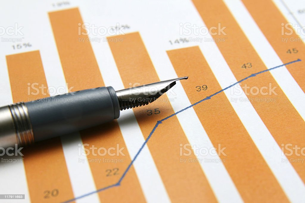 Orange bar infographics with ink pen  royalty-free stock photo