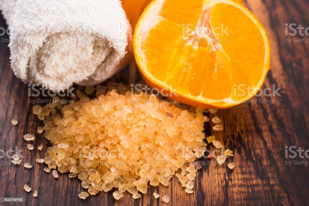 Orange bath salt and fruits stock photo