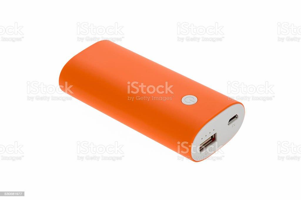 orange battery bank stock photo