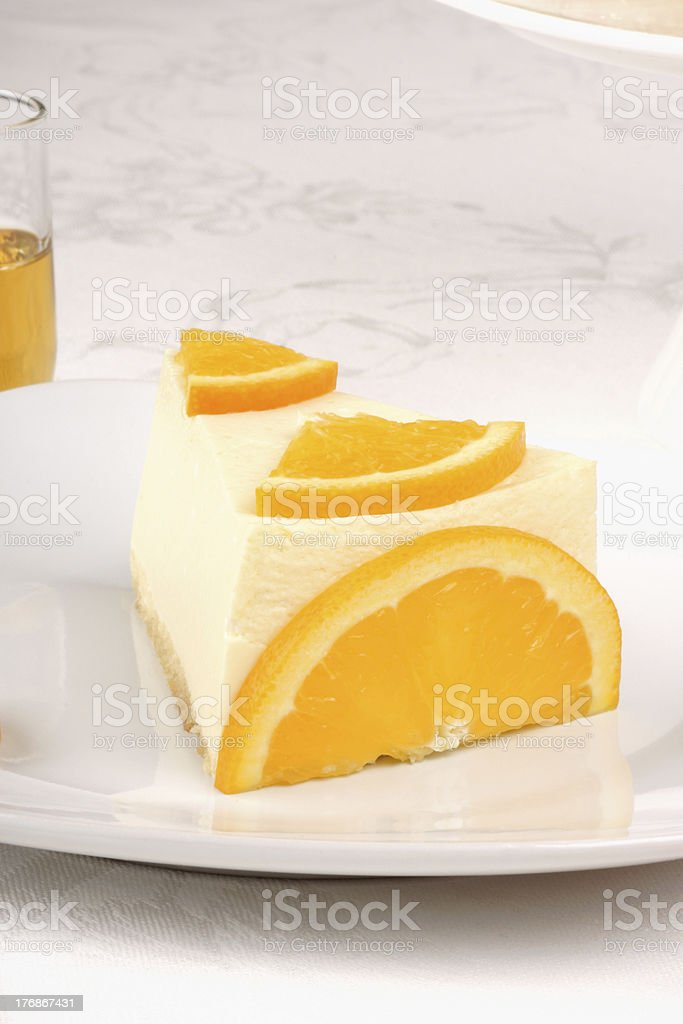 Orange bavarian cream (bavarese) stock photo