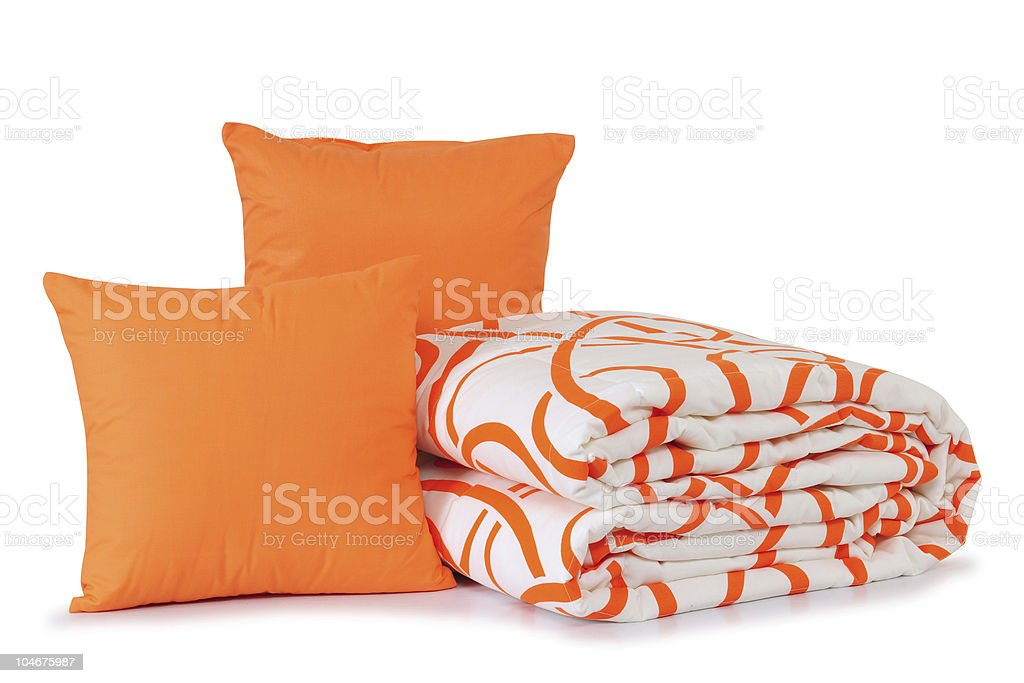 Orange bedding. stock photo