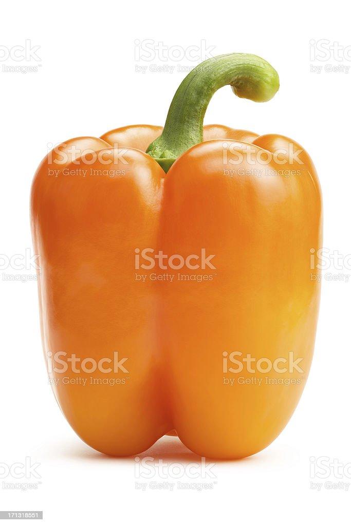 Orange Bell Pepper on white royalty-free stock photo