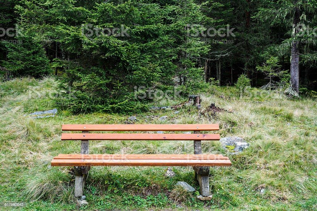 Orange bench stock photo