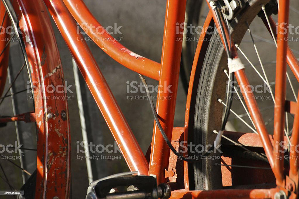 Orange bicycle details royalty-free stock photo