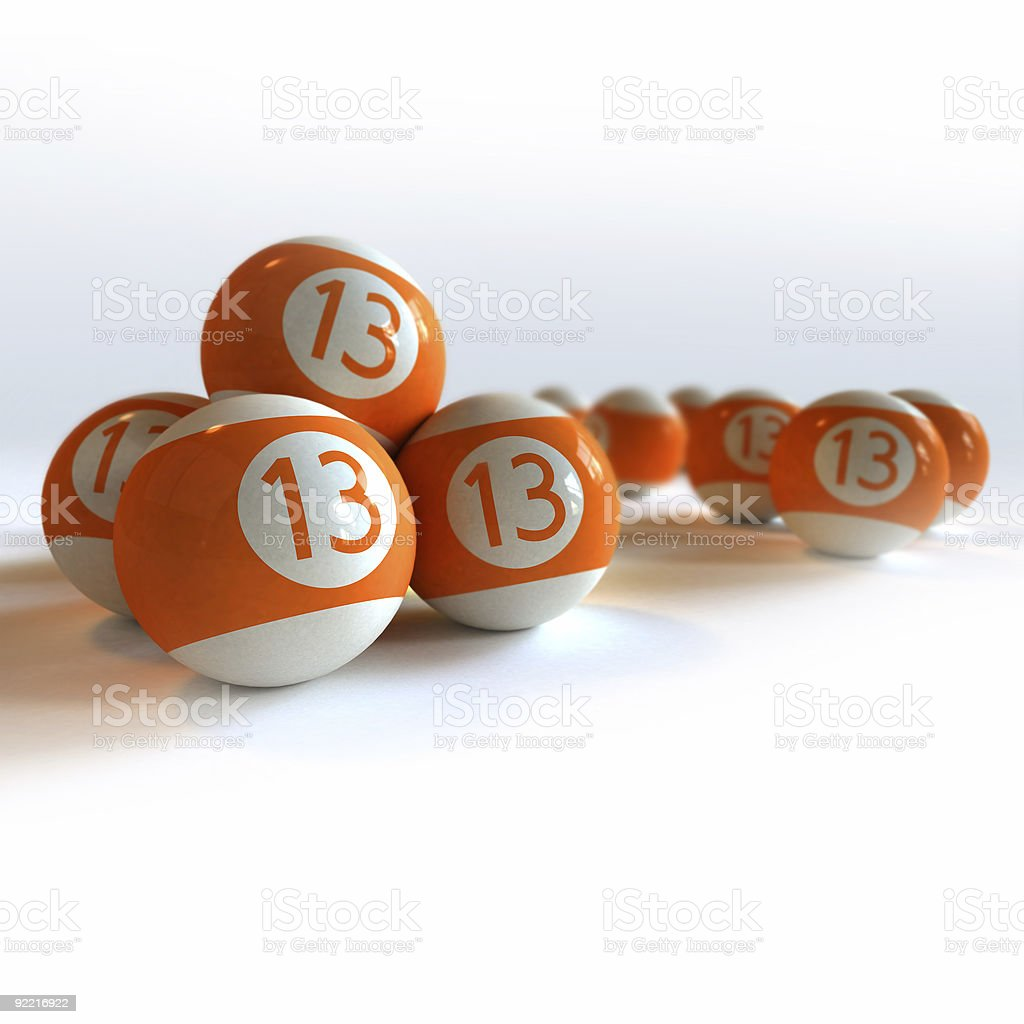 Orange billiard balls with number 13 royalty-free stock photo