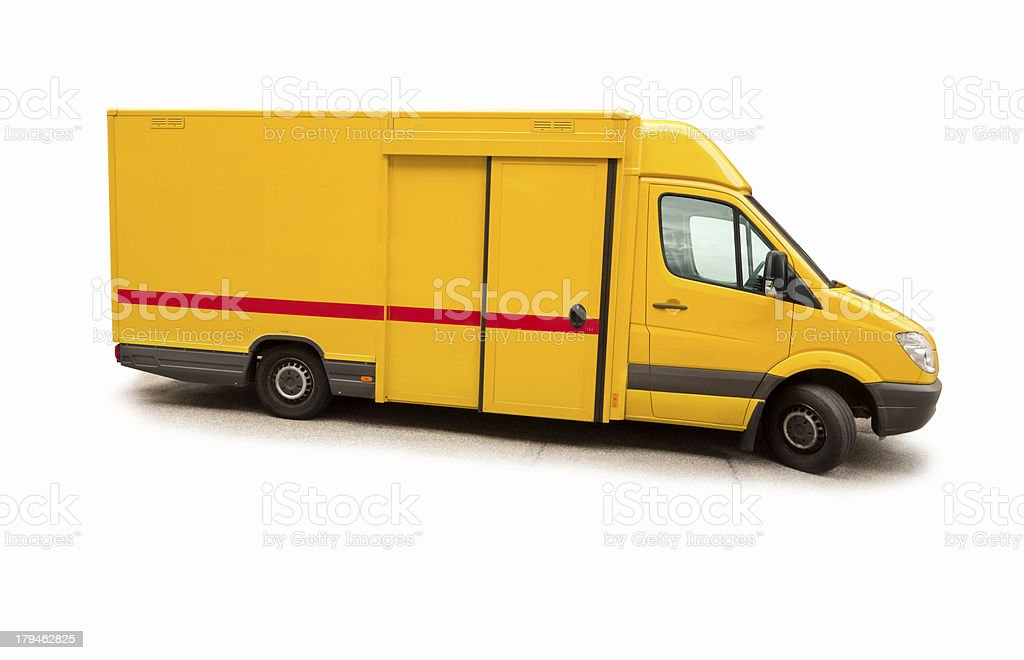 Orange blank van on white background royalty-free stock photo