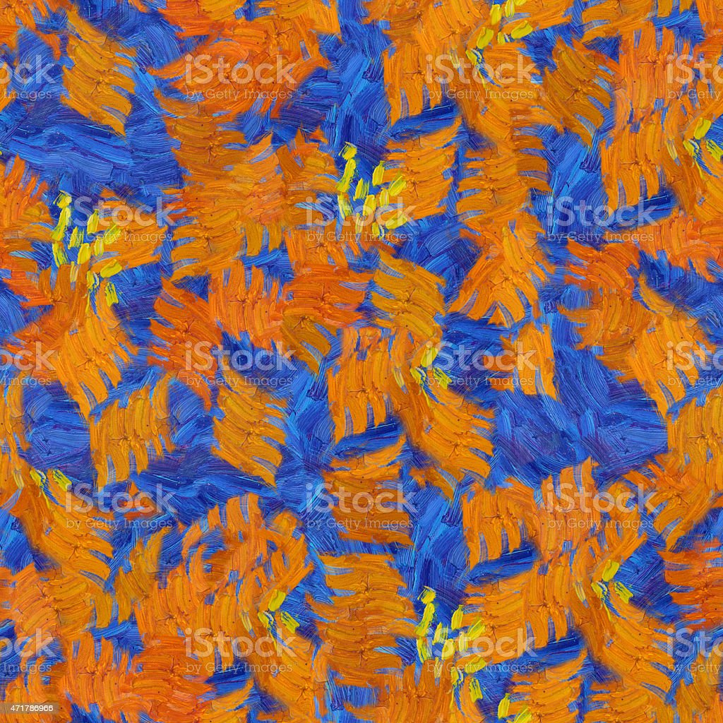 Orange blue abstract seamless pattern oil strokes texture painting vector art illustration