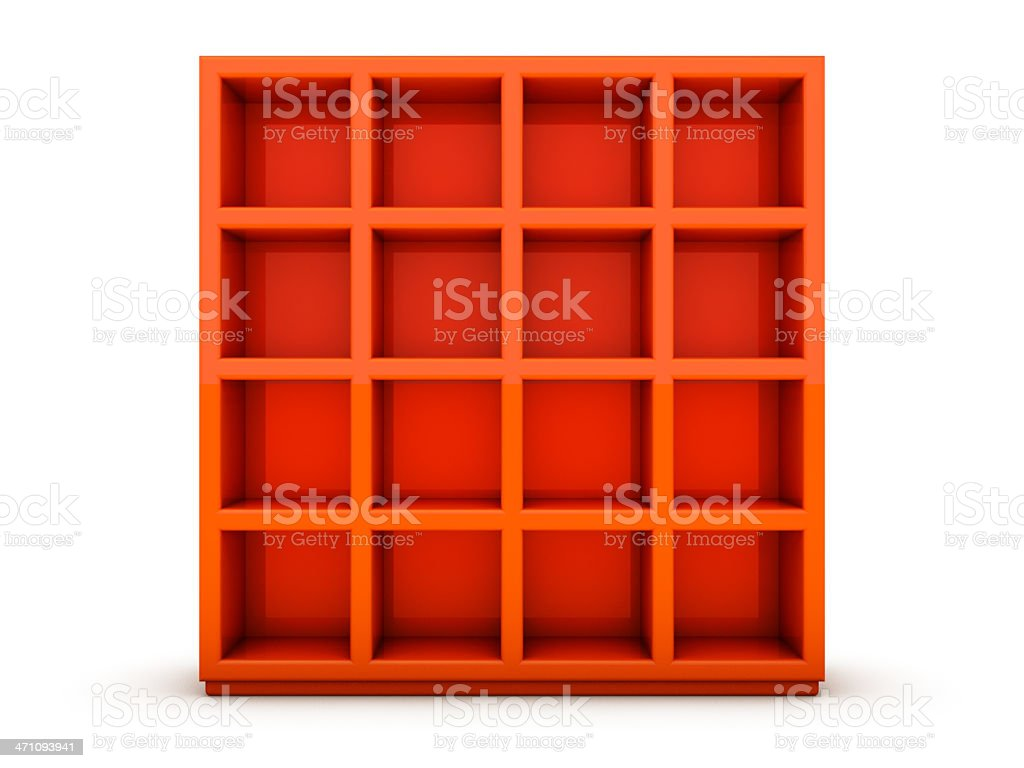 Orange Bookshelf royalty-free stock photo