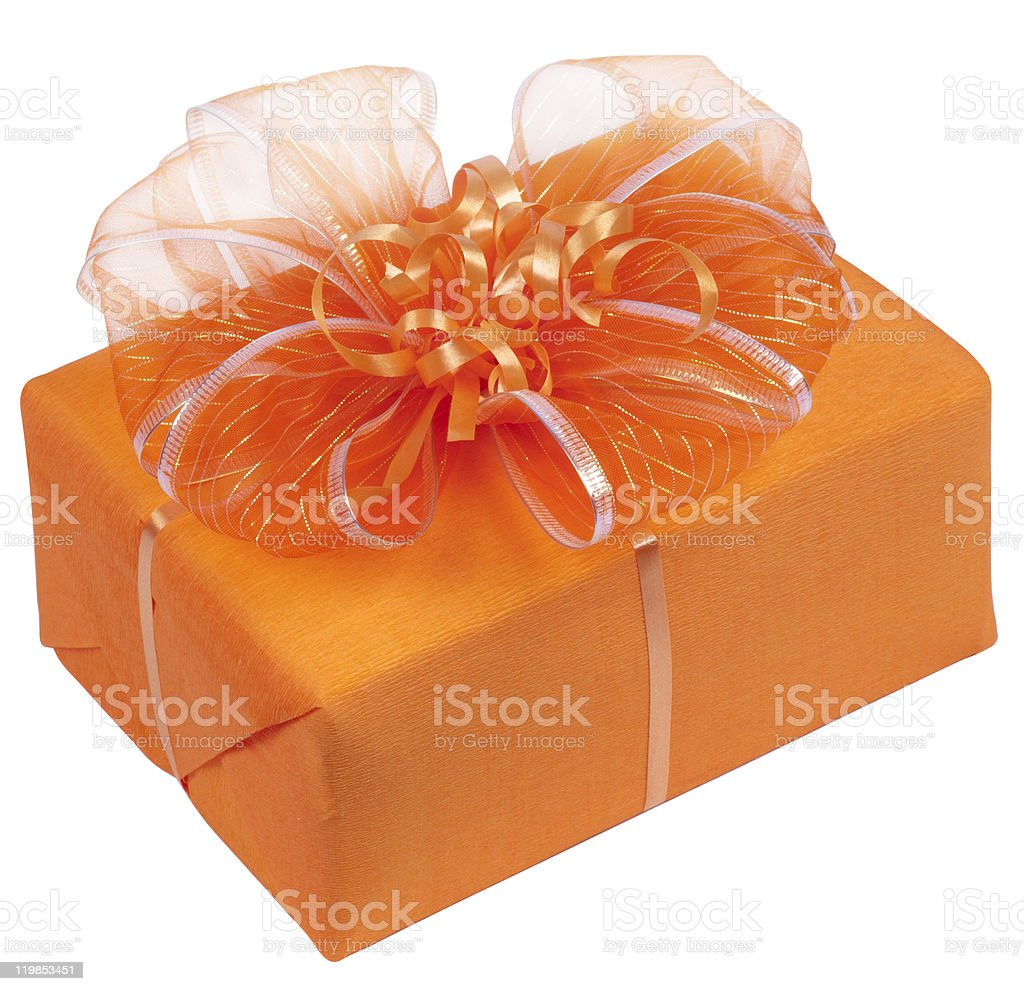 orange  box with gifts stock photo