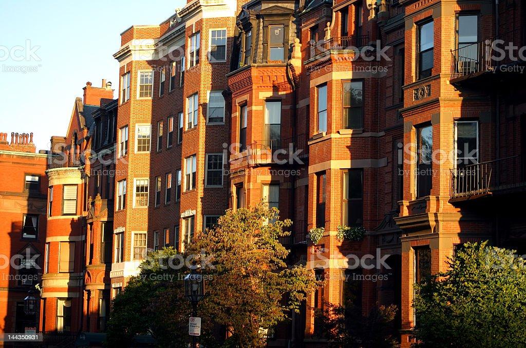 Orange brick buildings at Back Bay, Boston royalty-free stock photo