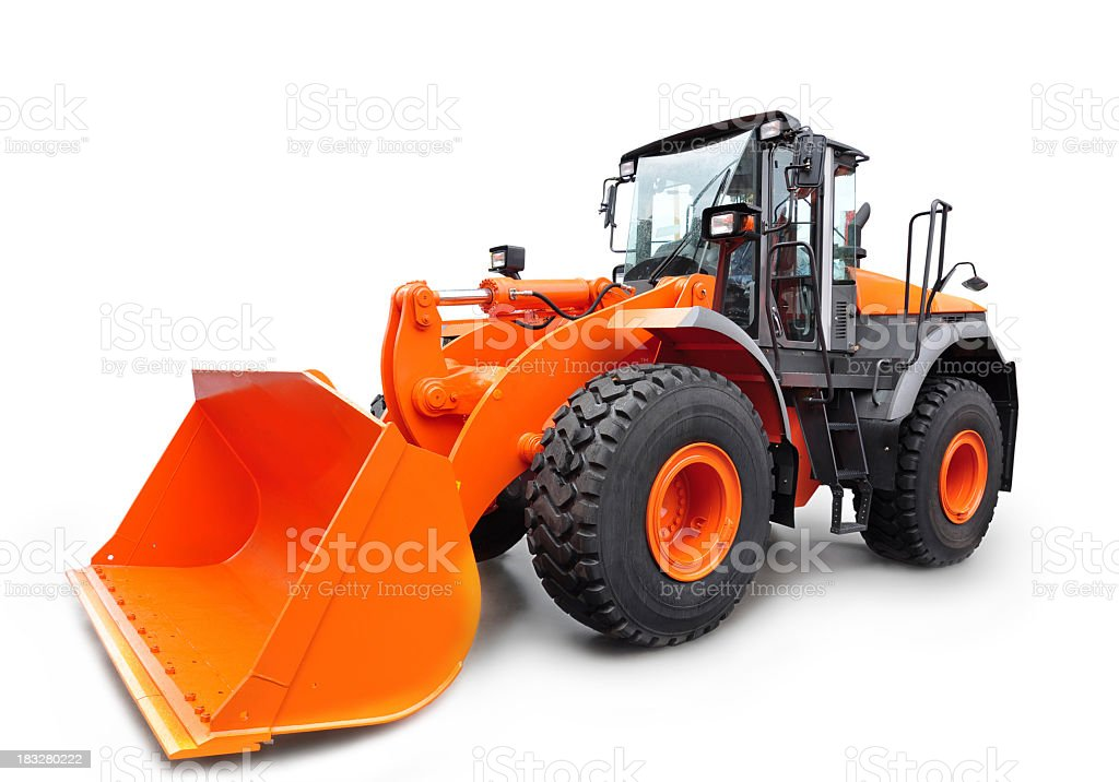 Orange bulldozer isolated on white background stock photo