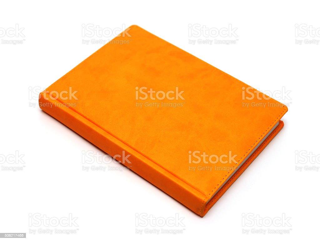 orange business notebook stock photo