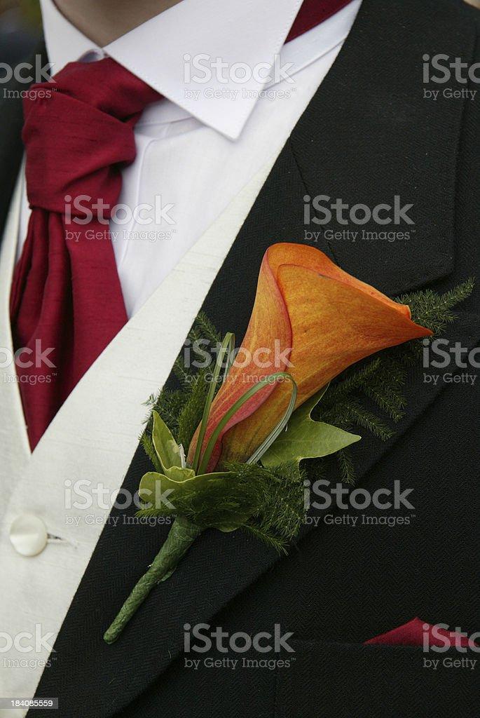 orange buttonhole on groom royalty-free stock photo