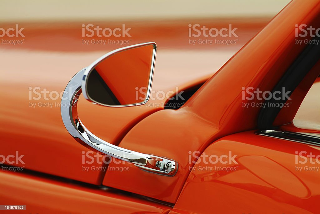 Orange Cabriolet Mirror royalty-free stock photo