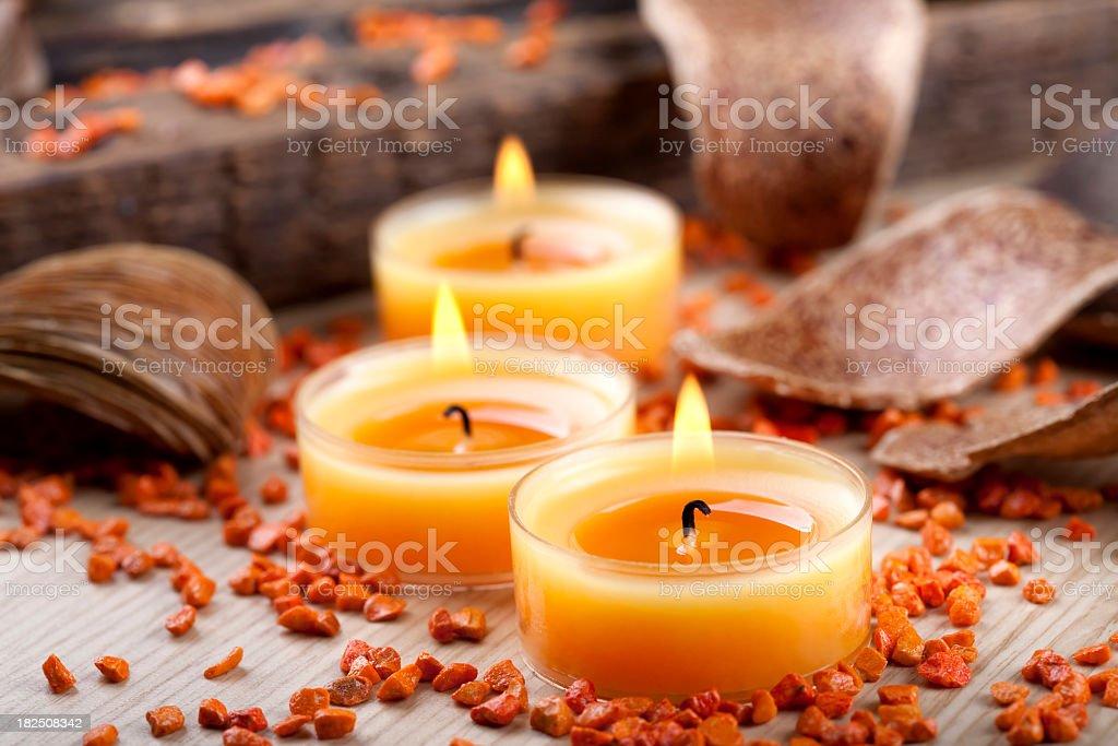 Orange candles decoration royalty-free stock photo