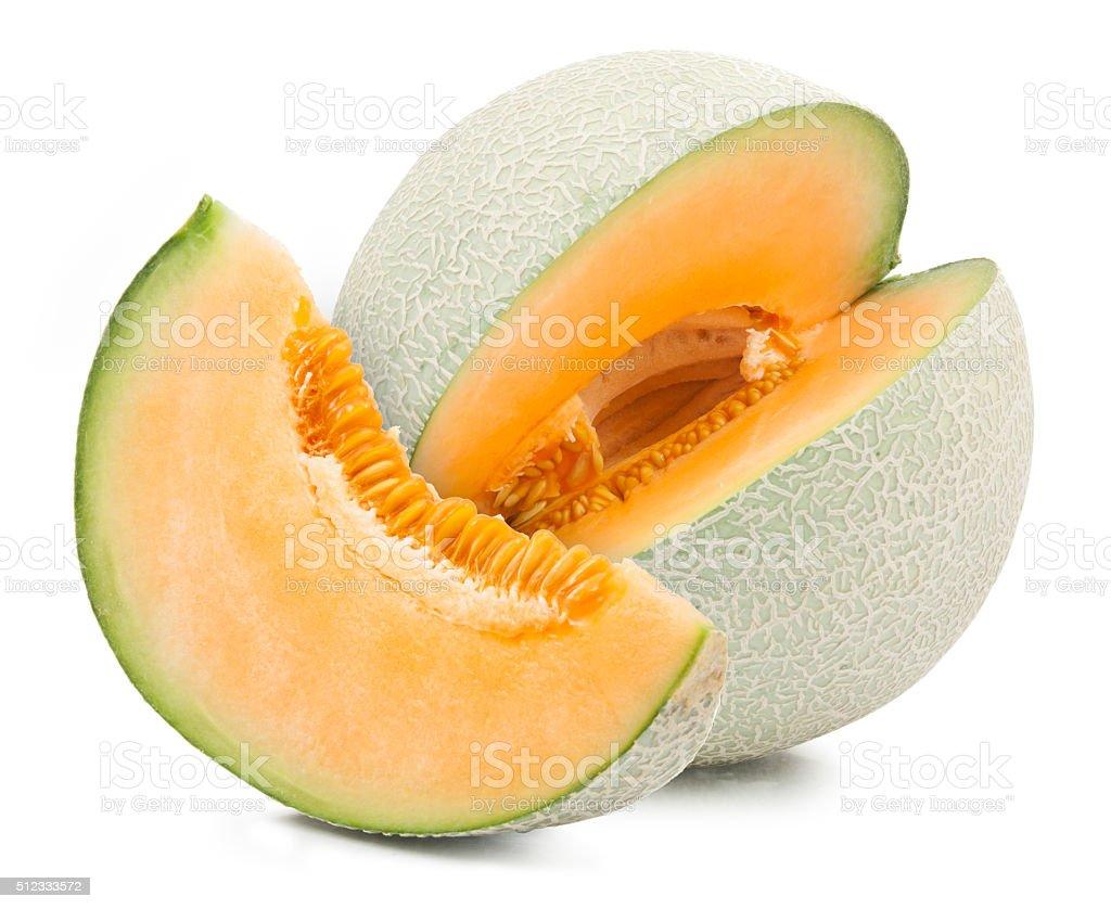 Orange cantaloupe melon isolated stock photo