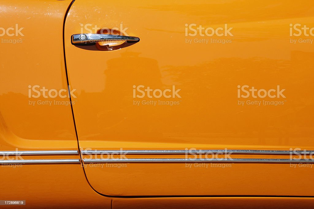 Orange Car Door of VW Karmann-Ghia stock photo