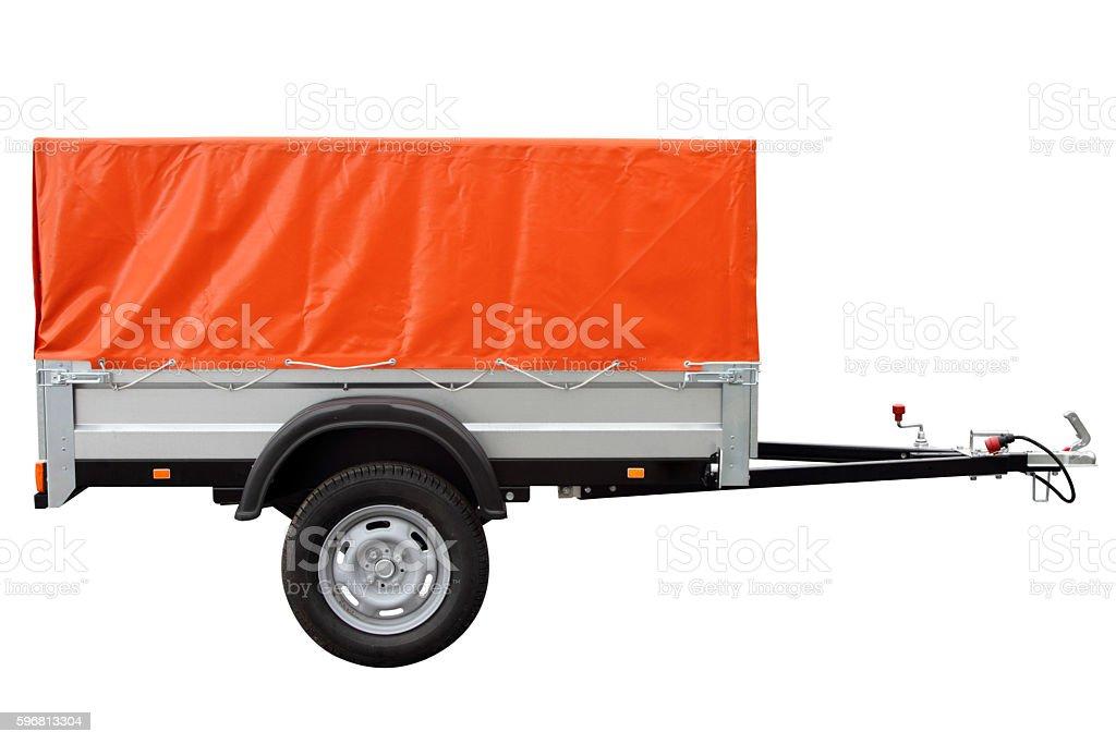 Orange car trailer. stock photo