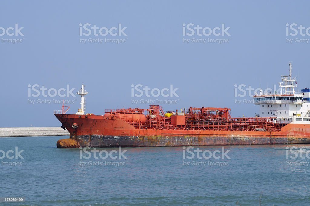 Orange cargoship royalty-free stock photo