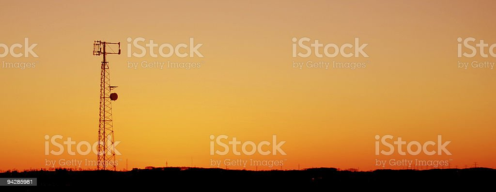 Orange Cell Tower Silhouette royalty-free stock photo