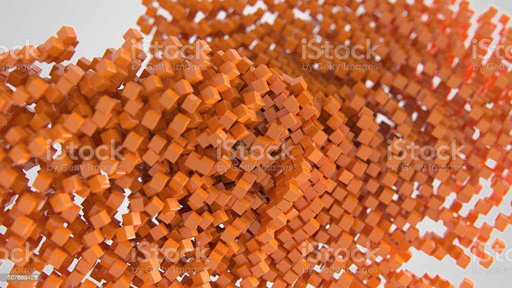 Orange chaotic abstract cube background 3d Illustration stock photo