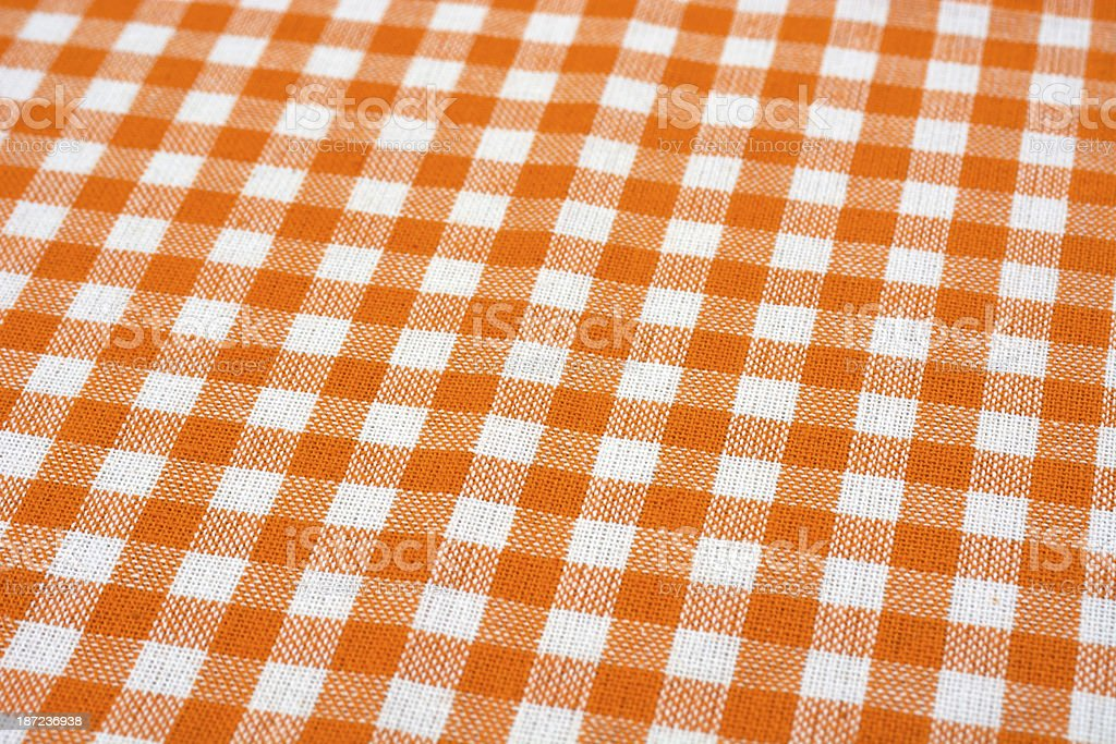 Orange checked tablecloth royalty-free stock photo