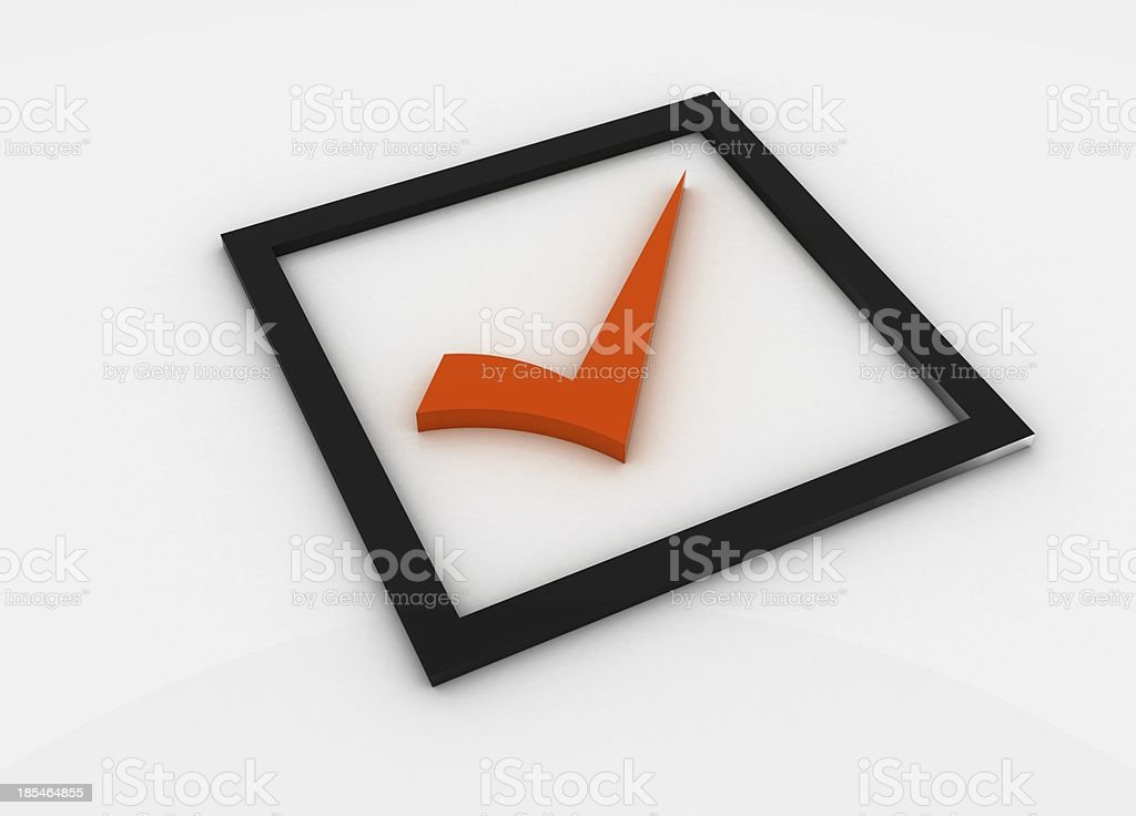 Orange checkmark royalty-free stock photo