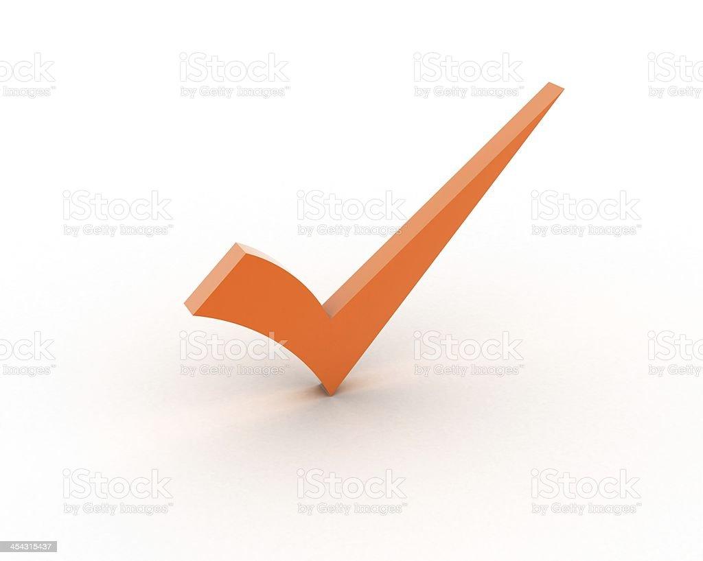 Orange checkmark stock photo