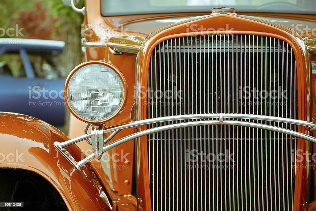 Orange Chevy Street Rod Automobile stock photo