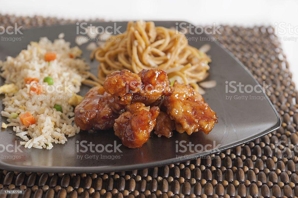 Orange Chicken with sauce stock photo