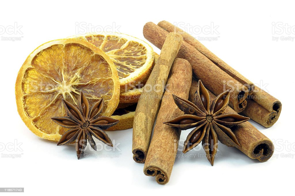 orange,  cinnamon and anise royalty-free stock photo