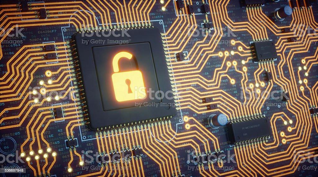 Orange Circuit Board With Security Padlock stock photo