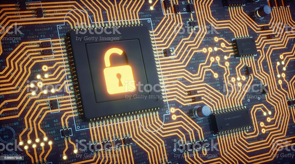 Orange Circuit Board With Security Padlock stock photo