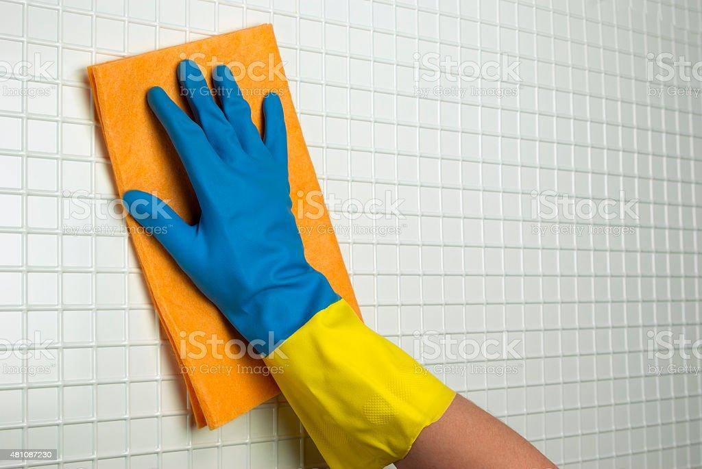orange cloth to clean royalty-free stock photo