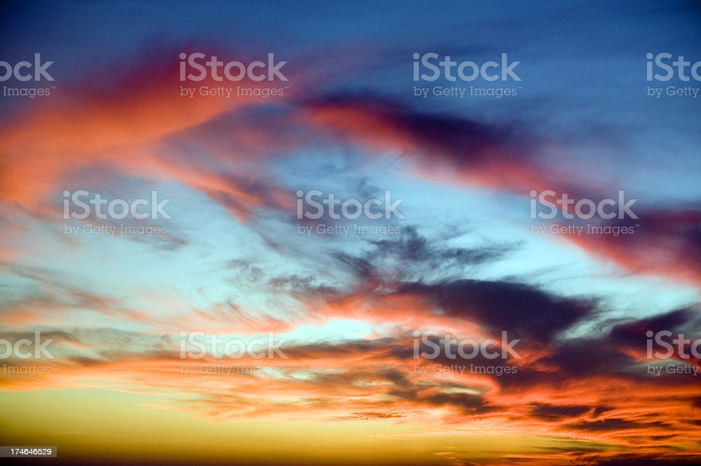 orange clouds sunset dusk stock photo