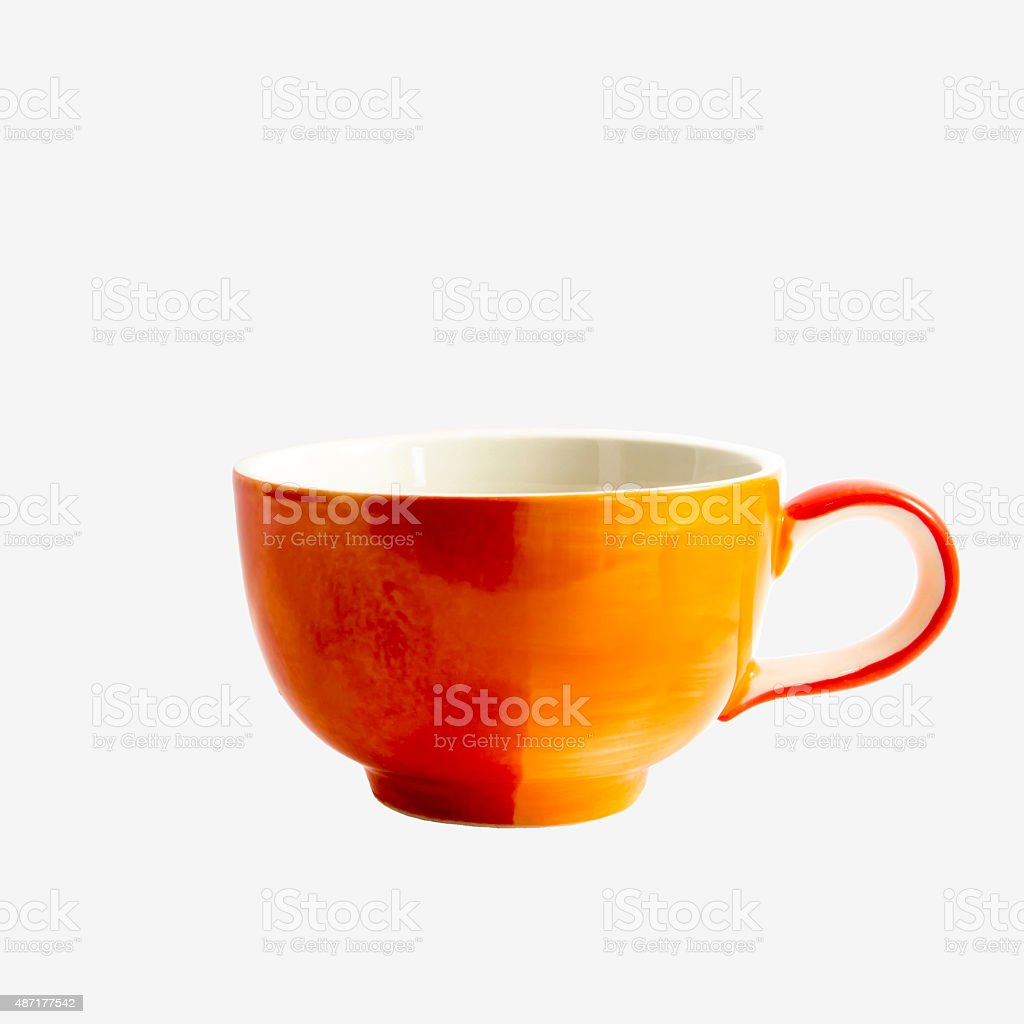 Orange coffee cup isolated on white background royalty-free stock photo
