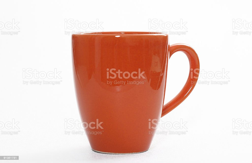 Orange Coffee Cup on White Background - Closeup stock photo