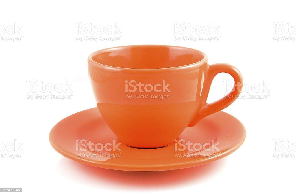 Orange tasse à café avec plaque photo libre de droits