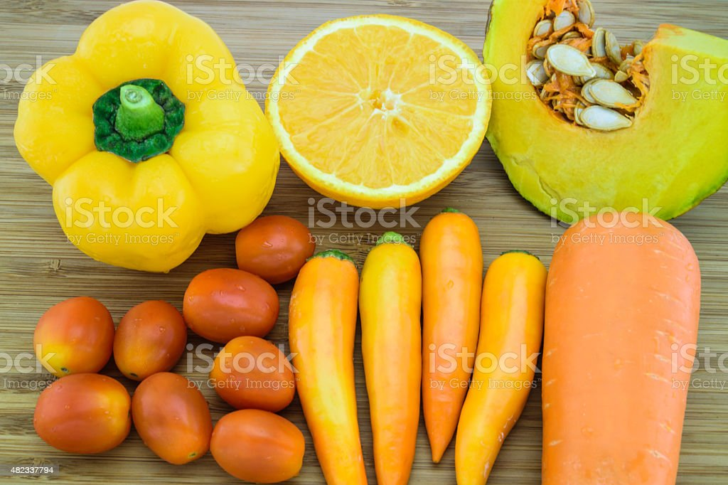 Orange color fruits and vegetable stock photo