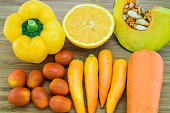 Orange color fruits and vegetable