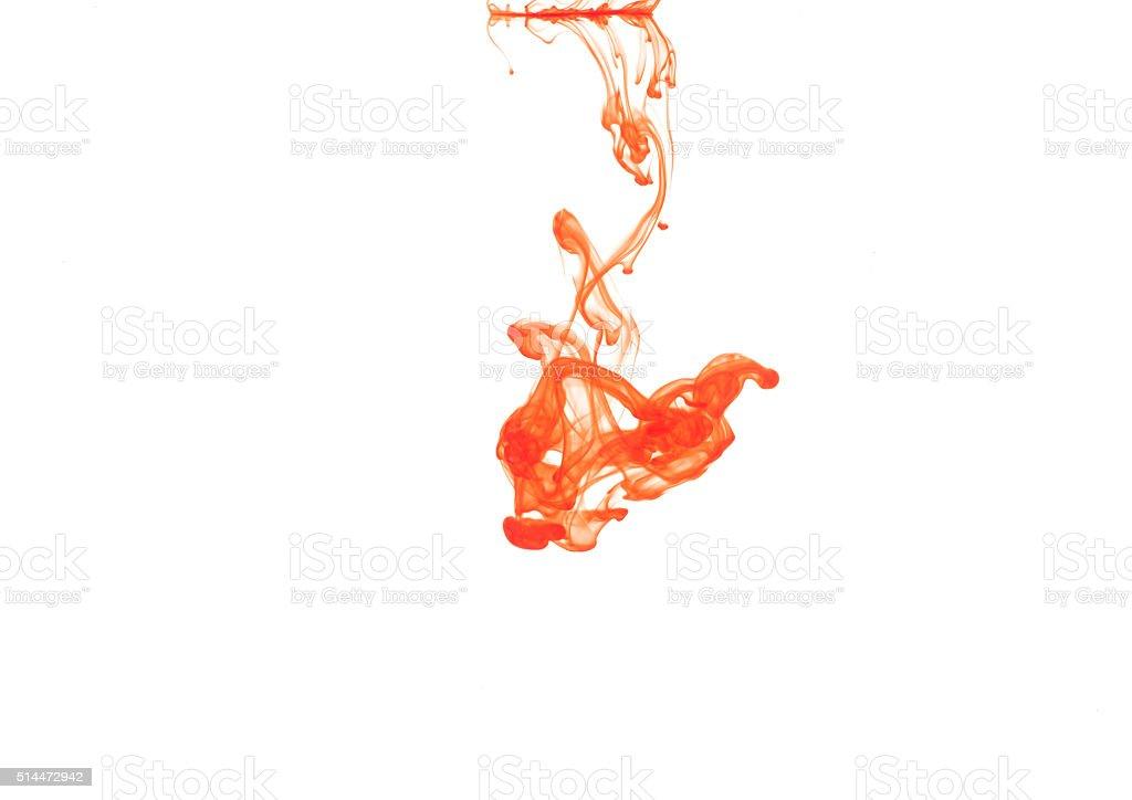 Orange color in water stock photo