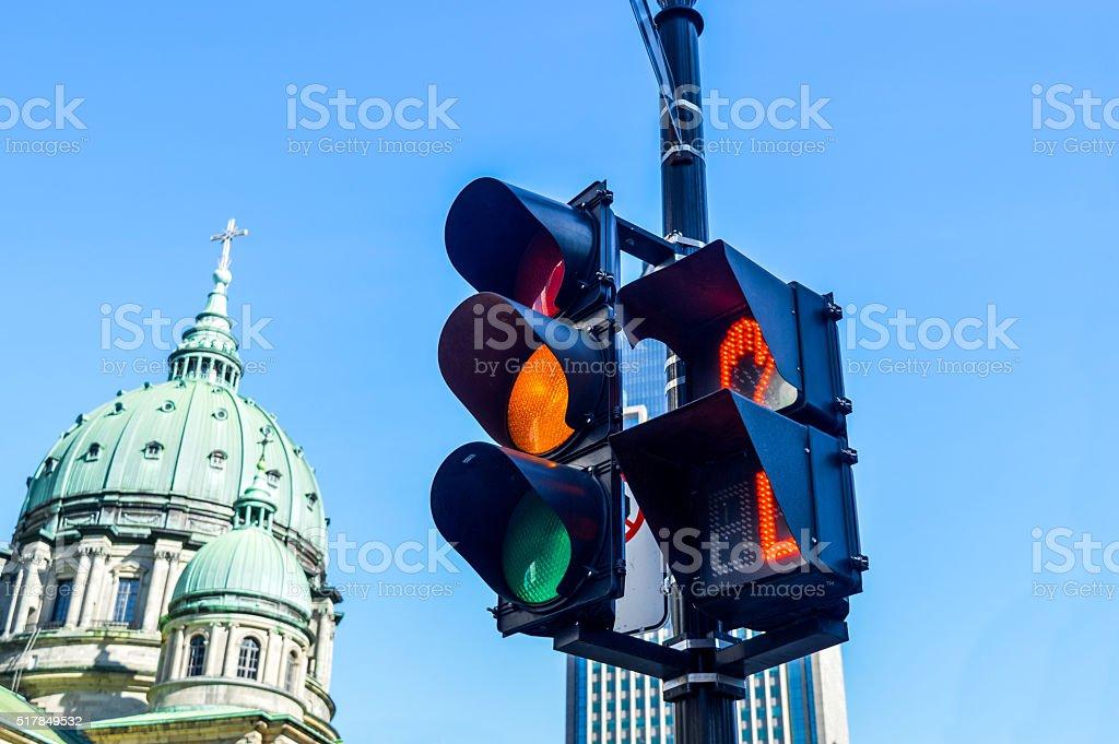 Orange color on the traffic light stock photo