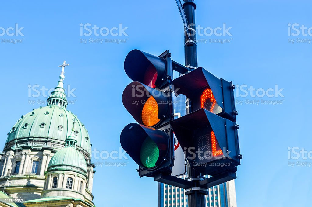 Orange color on the traffic light stock photo