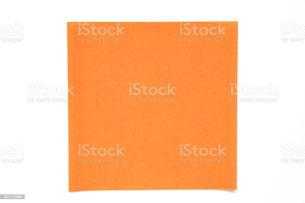 Orange color paper sheet on white background used for decoration or design element stock photo