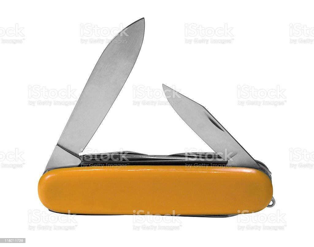 orange colored pocket knife stock photo