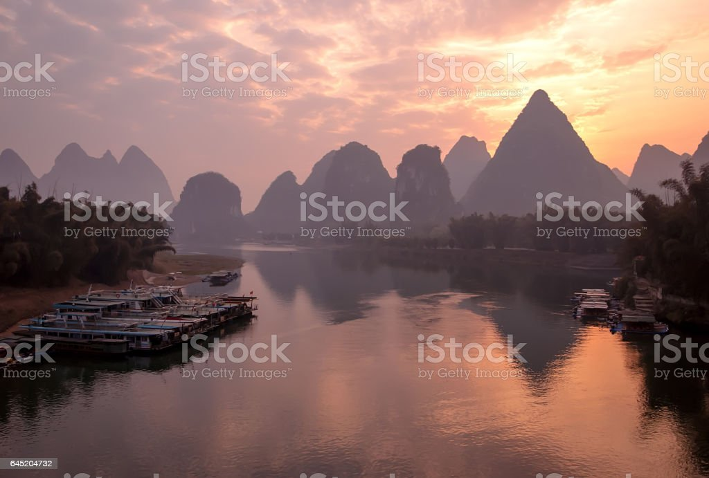 Orange Colorful Sunrise on the Li River, Guangxi,Guilin, China. stock photo
