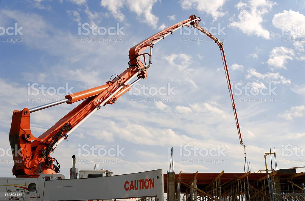 Orange Concrete Pump 1 royalty-free stock photo