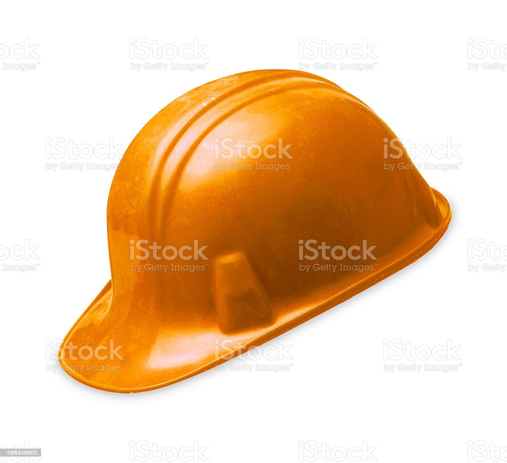 orange construction helmet shot isolated stock photo